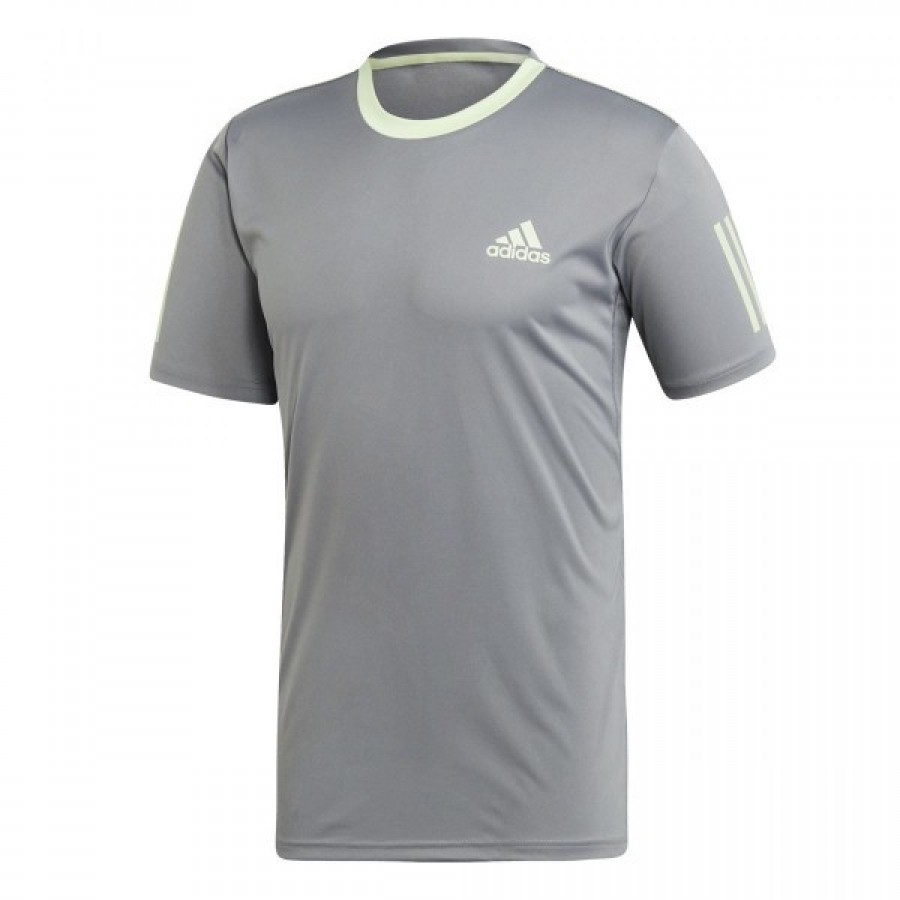 Camiseta Adidas Club 3 Stripes Gris Verde