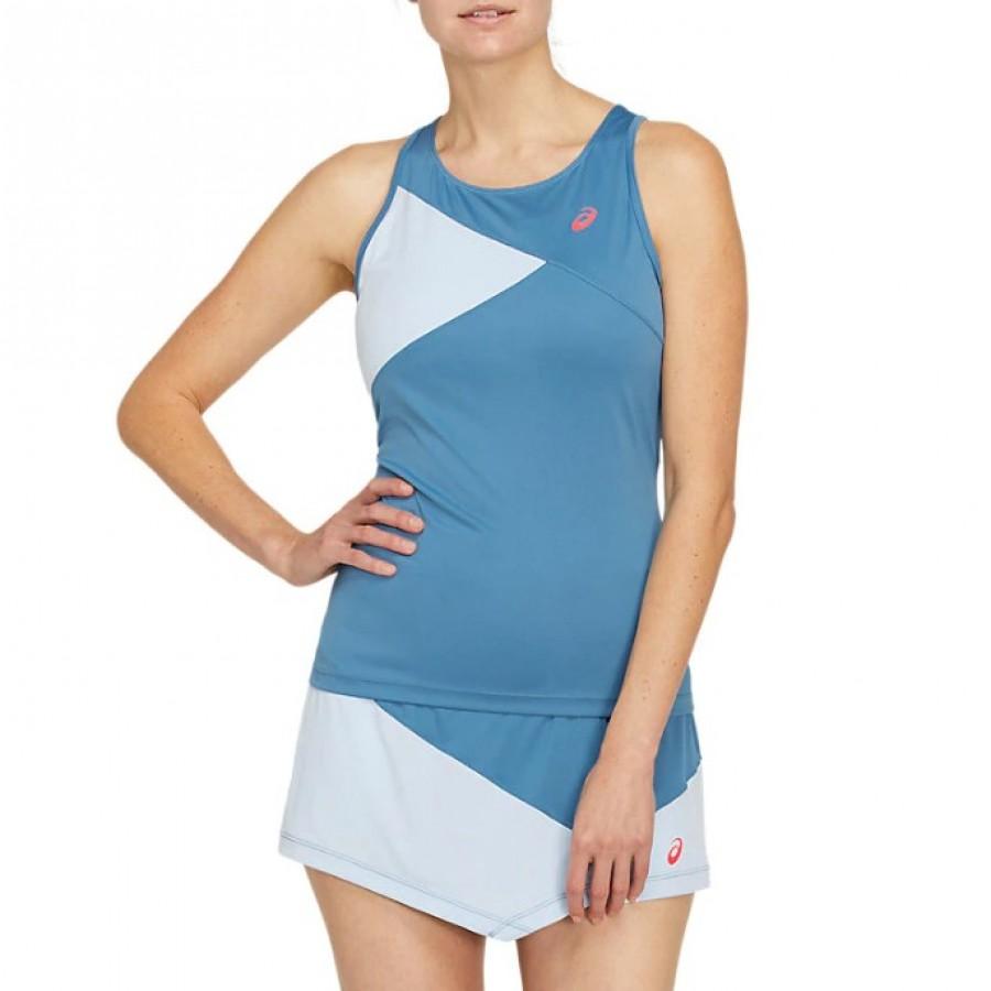 Camiseta Asics Club Azul Claro Gris