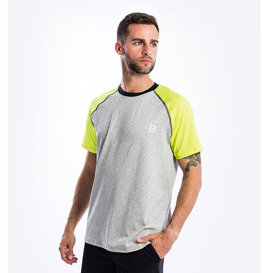 Camiseta BB Snow Gris Amarillo Fluor - Barata Oferta Outlet