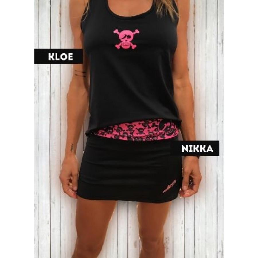 Camiseta Just Ten Kloe Tirantes Negro Fucsia - Barata Oferta Outlet