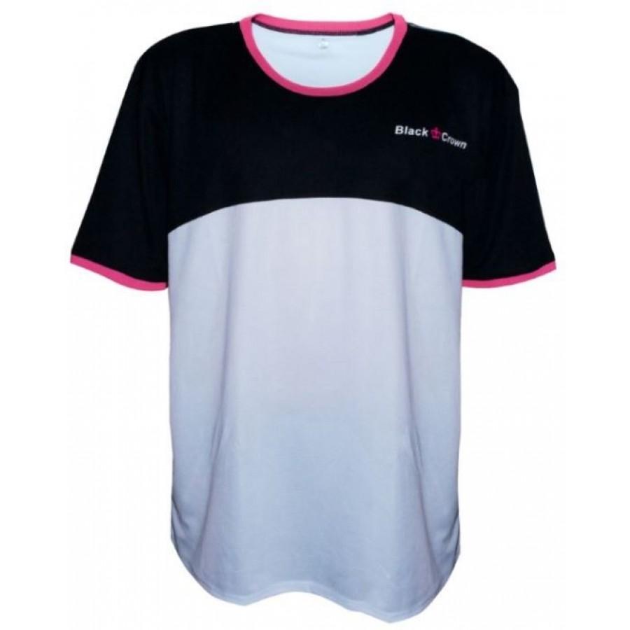 ROPA PADEL BLACK CROWN Camiseta Boom Blanco Negro - Barata Oferta Outlet